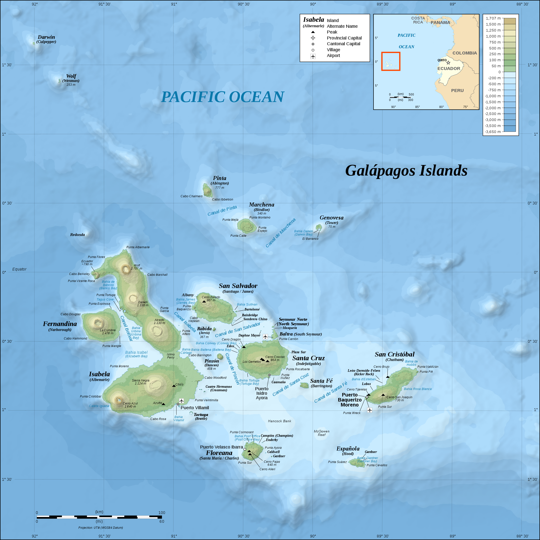 Topographical map of the Galápagos Islands off the coast of Ecuador