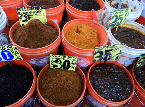 Mole mixes for sale at the huge Merced Market in Mexico City