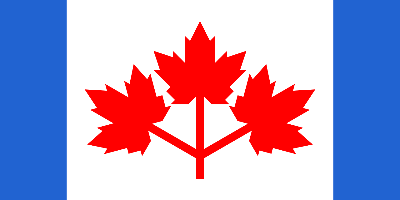 The Canadian Pearson Pennant, the flag design suggested by then-Prime Minister w:Lester Pearson. The original artwork was drafted by artist Alan Brookman Beddoe.