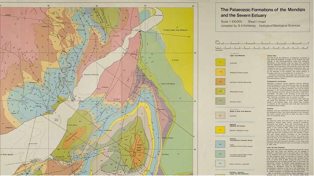 Uncorrected colour proof entitled 'The Palaeozoic Formations of the Mendips and the Severn Estuary', nd (Kellaway Collection)