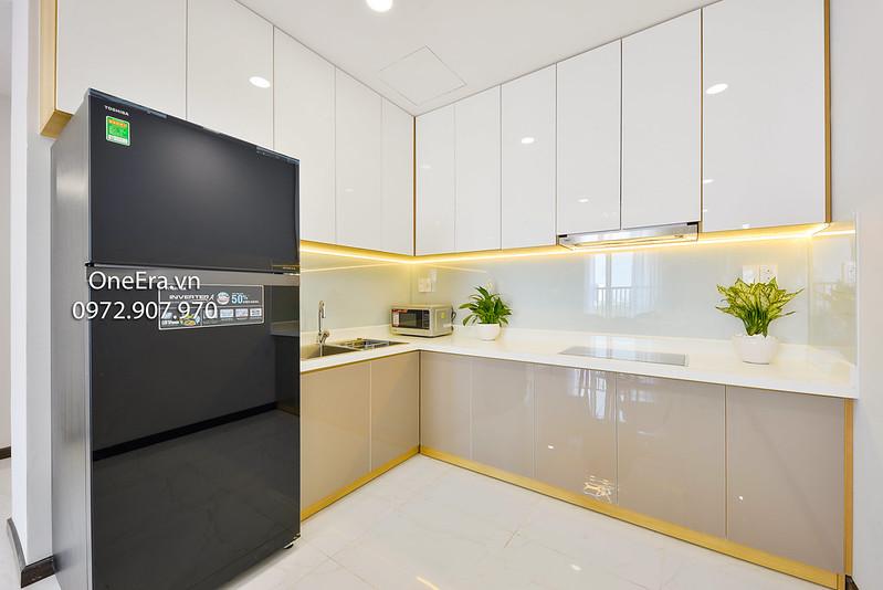 Bếp, tủ lạnh, tủ bếp, lò vi sóng, bồn nước, chậu cây xanh