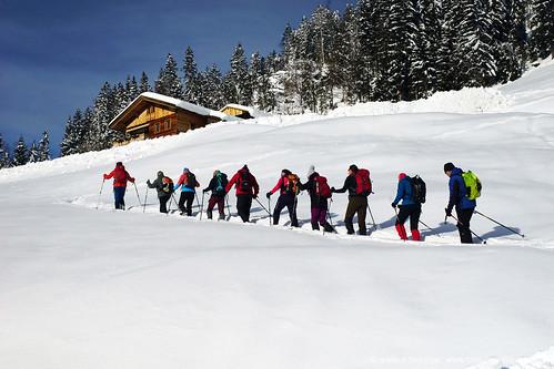 Schneeschuhwandern in Liesing im Lesachtal bei Traumwetter