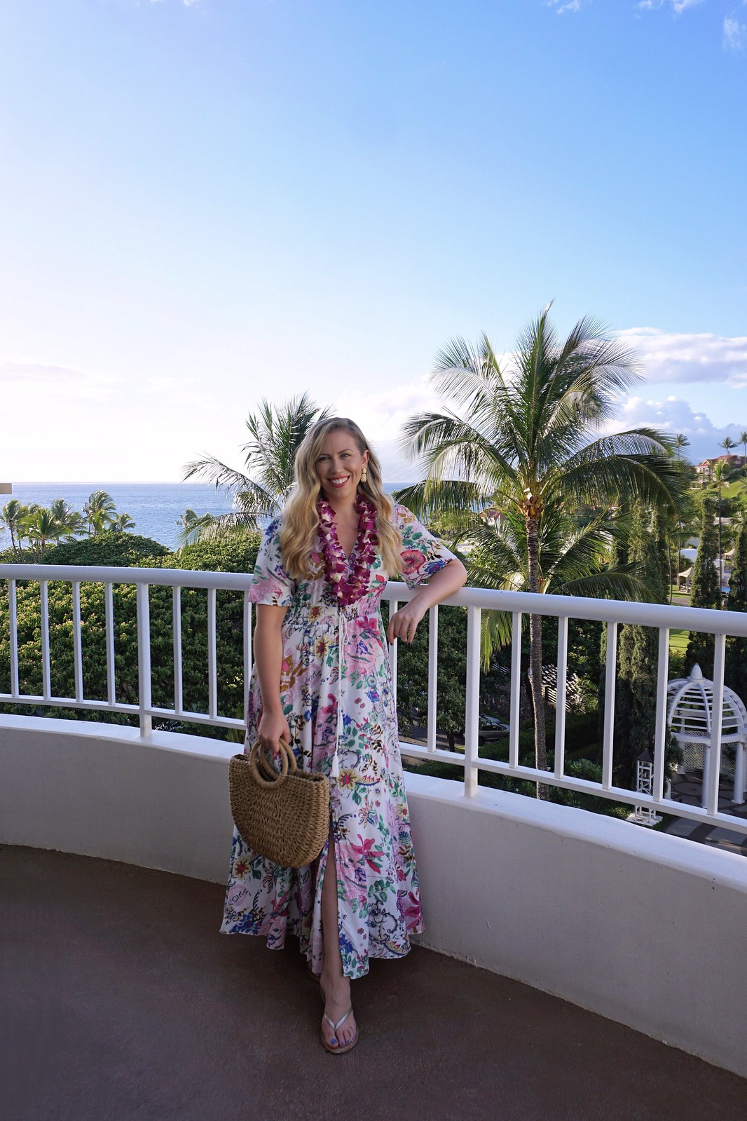 Hawaii Outfit Inspiration Shein Floral Maxi Dress Rattan Bag Balcony View Fairmont Kea Lani Maui Hawaii