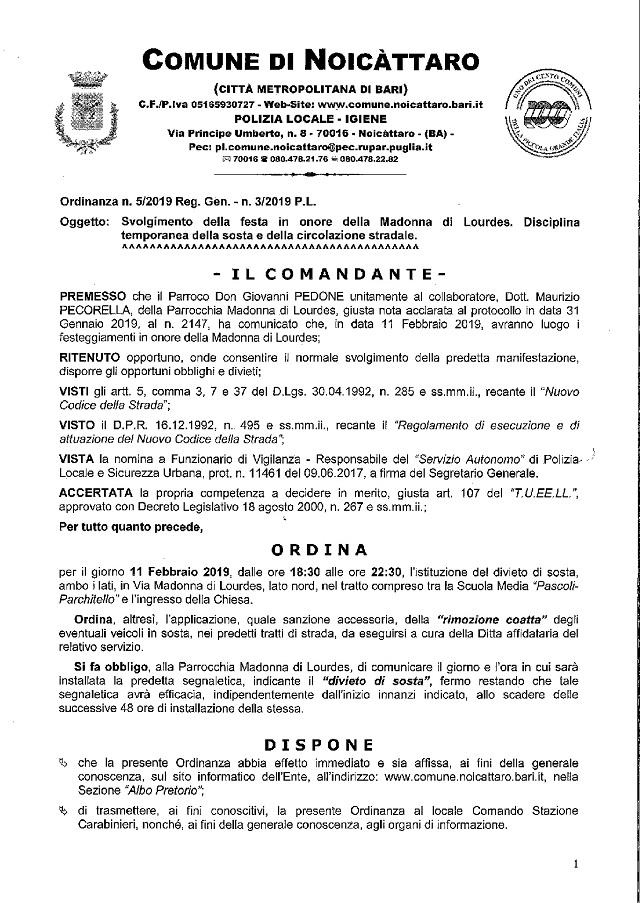 Noicattaro. ordinanza 1