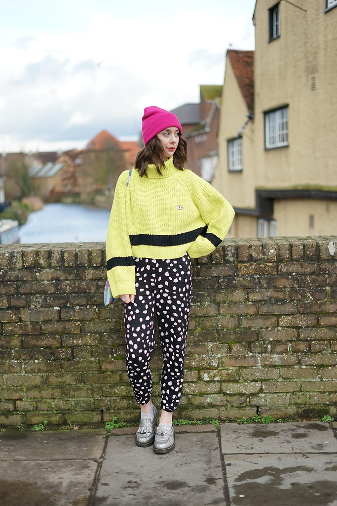 Lazy Oaf Lime Knit & Collusion spotty trousers 3
