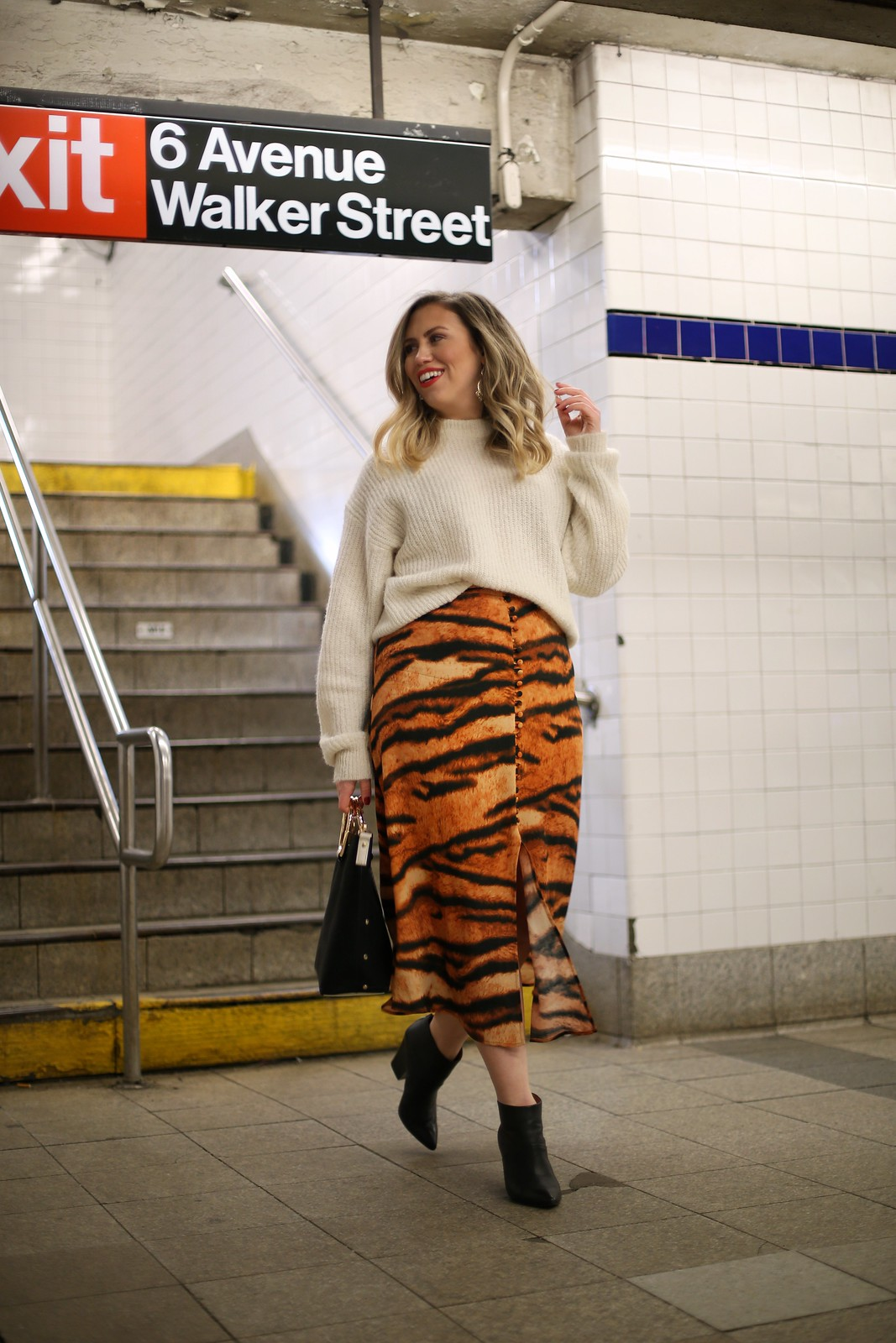 White Reformation Finn Sweater ASOS Orange Tiger Print Skirt Winter Outfit Canal Street Subway Fashion Photo Shoot