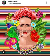 NEW #vectorillustration :cherry_blossom: #Frida #Kahlo #Floral #Exotic #Portrait :cherry_blossom:  #Design #Copyright #BluedarkArt #TheChameleonArt :cherry_blossom: #Licenses are available for #Sale :point_right: https://shutr.bz/2CAqiTX :cherry_blossom: