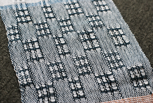 Handwoven Swedish lace sampler white cotton 8/2 warp with weft float checks in dark blue cotton 8/2 yarn by irieknit