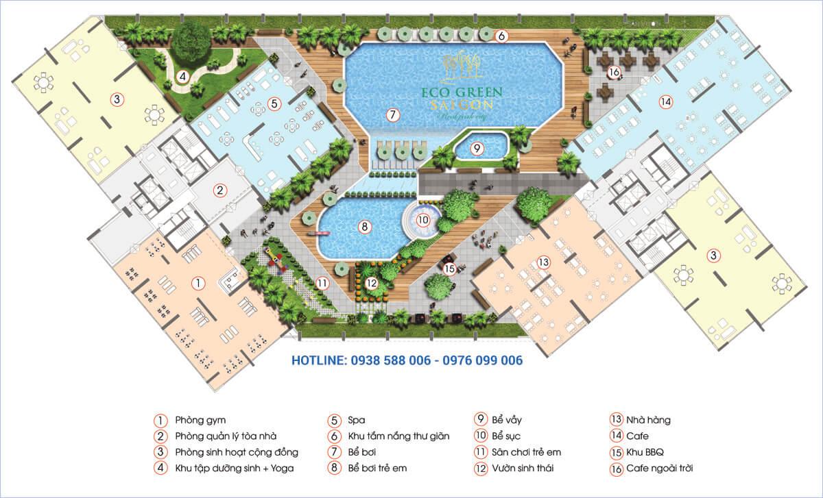 Các tiện ích tại tòa nhà HR2 dự án căn hộ Eco-Green Sài Gòn quận 7.