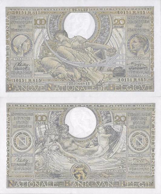 100 Francs - 20 Belgas Belgicko 1943 P107