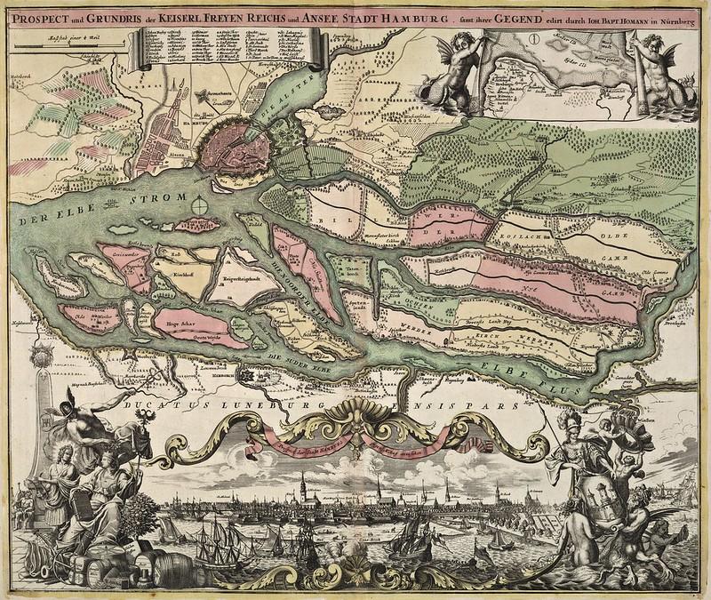 Johann Baptist Homann - Keiserl. Freyen Reichs und Ansee Stadt Hamburg (1716)