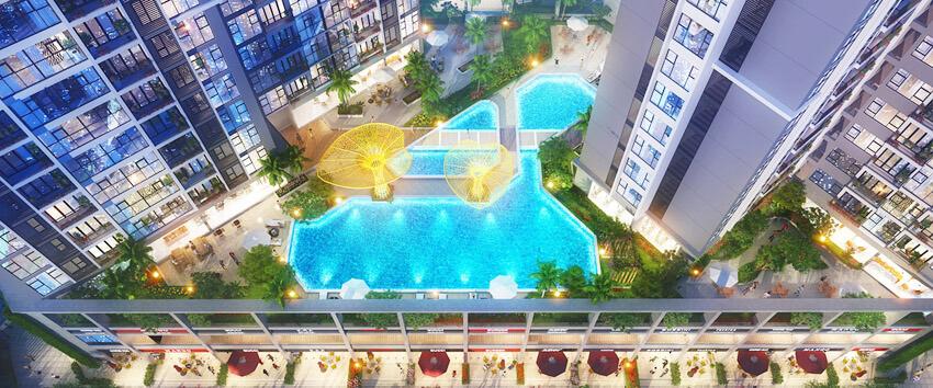 Phối cảnh hồ bơi dự án căn hộ Eco-Green Sài Gòn nhìn từ trên cao.