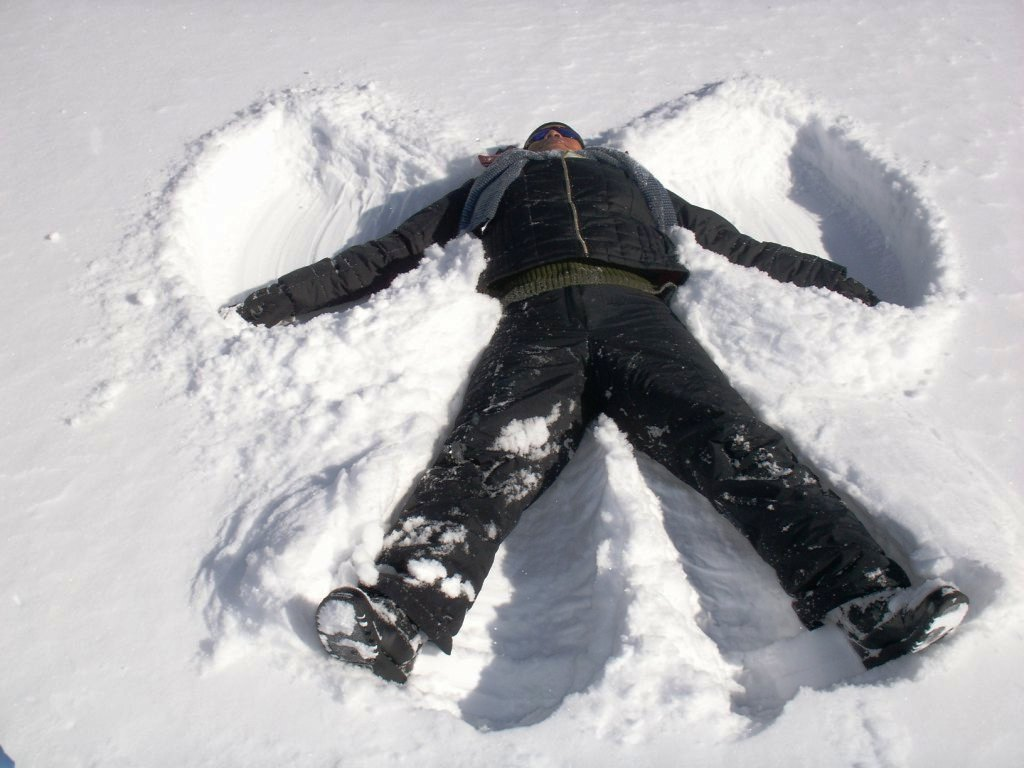 Making a snow angel. Photo taken on February 4, 2007.
