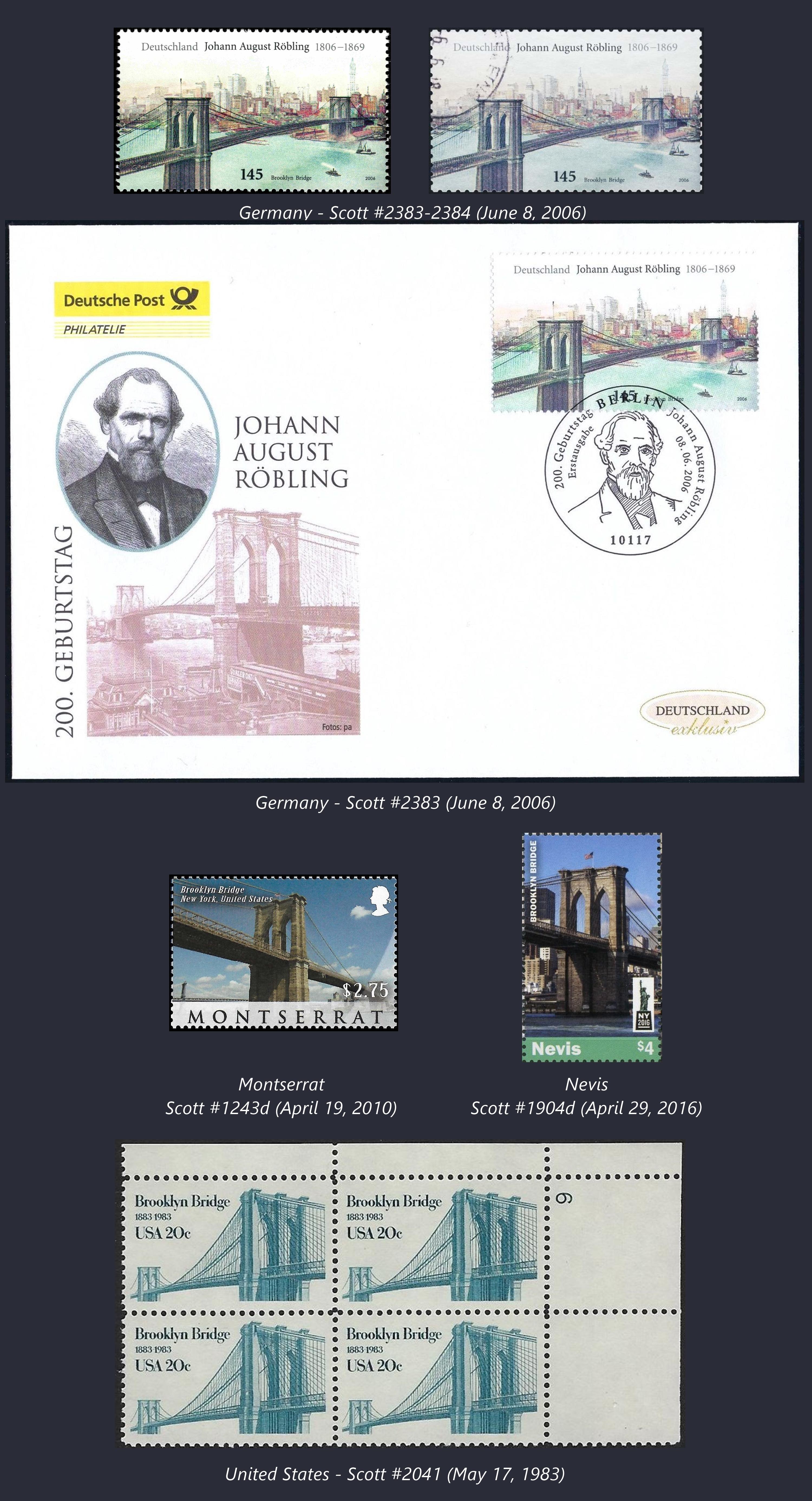 Stamps portraying the Brooklyn Bridge