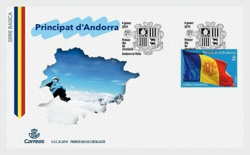 Spanish Andorra - Definitive: Andorran Flag (January 4, 2019) first day cover