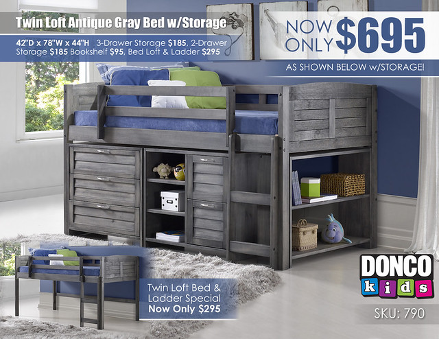 Twin Loft Antique Gray Bed wStorage_790