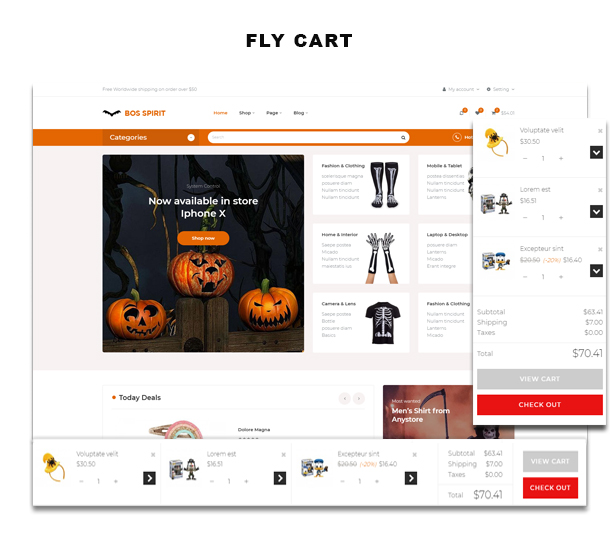 Ap Bosspirit Prestashop Halloween Themed Gifts - flying ajax cart