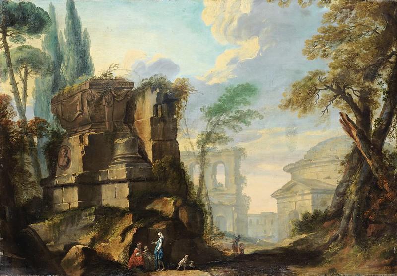 Jean Barbault - Paysage de ruines romaines animé de personnages