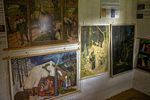 Alte Bildtafeln mit Märchenszenen (2)