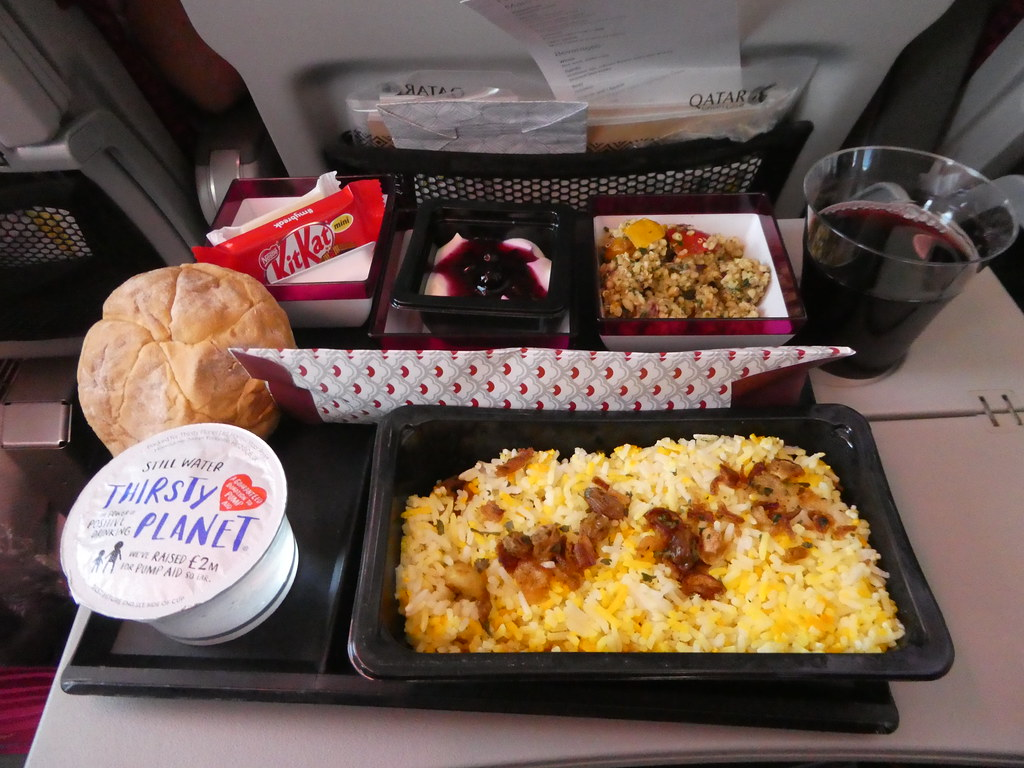 Lunch on board our Qatar Airways flight from Gatwick to Doha