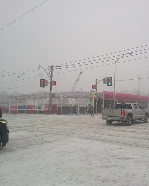 Looking southwest, Bloor and Bathurst #toronto #dlws #intersection #white #winter #snow #bloorstreetwest #bathurststreet