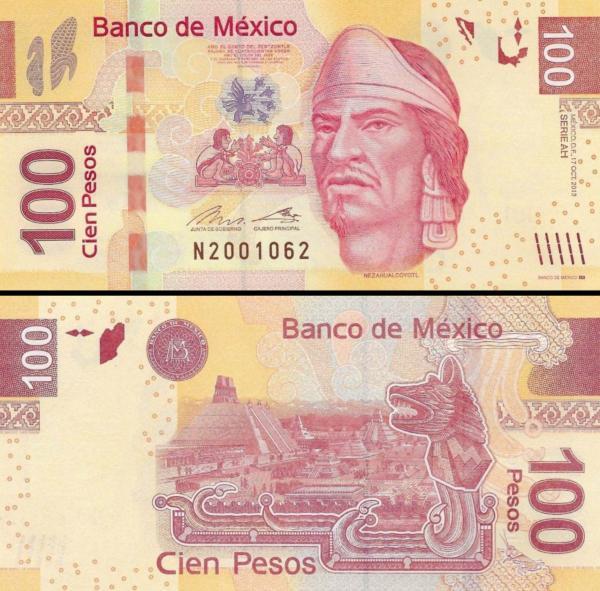 100 Pesos Mexiko 2008-14, P124 UNC