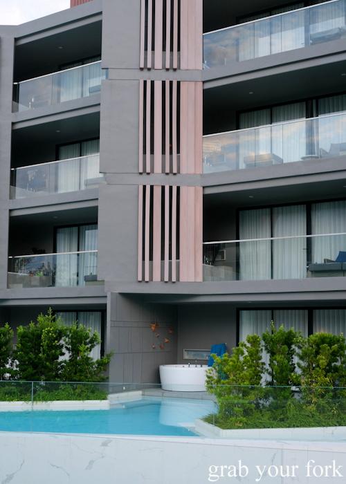 Poolside outdoor bathtub at La Vela Hotel Resort in Khao Lak, Thailand