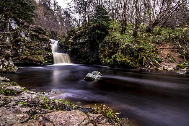fine art long exposure of the Linn of Ruthrie (Linn Falls) on the Aberlour Burn, Aberlour, Charleston of Aberlour (Obar Lobhair), Moray, Scotland