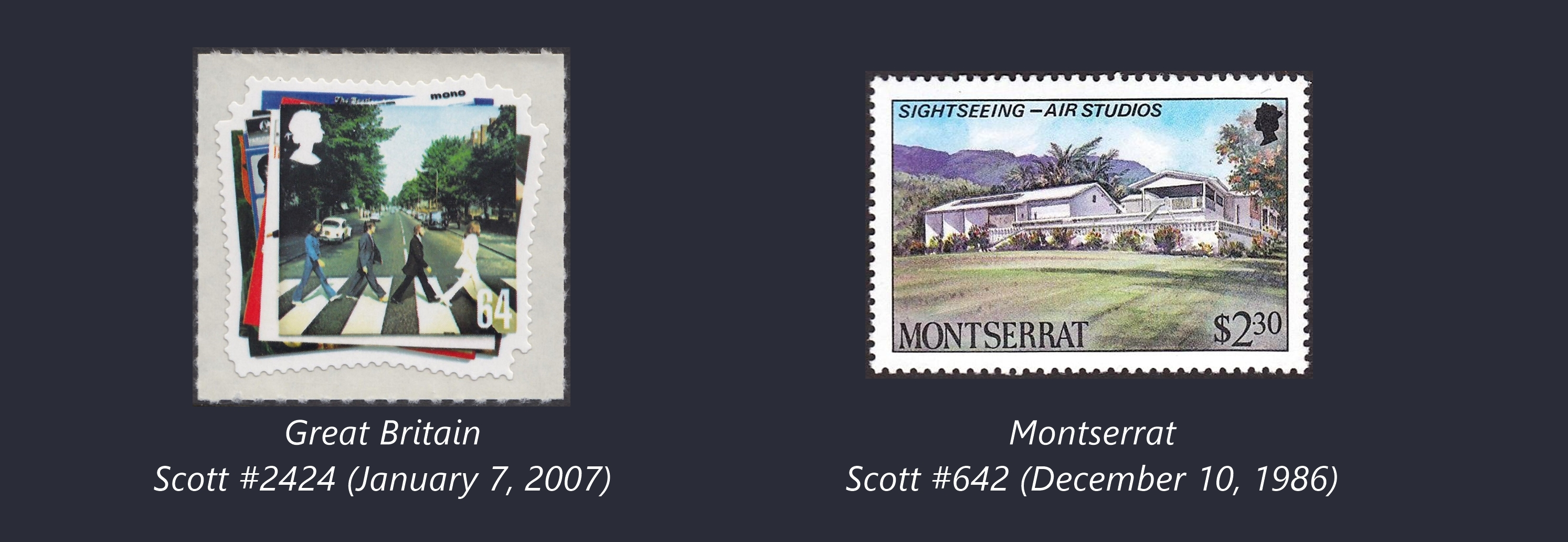 Two stamps related to The Beatles and their producer, Sir George Martin