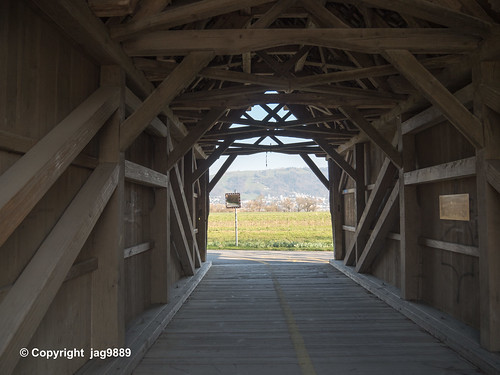 LOR592 Wooden Covered Bridge over the Old Lorze River, Zug, Canton of Zug, Switzerland
