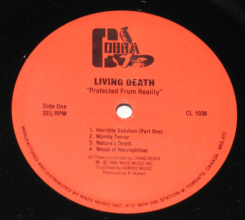 "Living Death Protected From Reality 12"" VInyl LP"