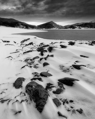 Campotosto, winter landscape.