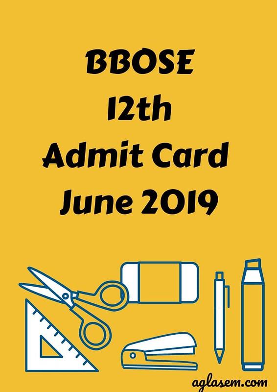 BBOSE 12th Admit Card June 2019