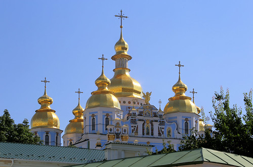 The shining golden domes of St. Michael's Cathedral