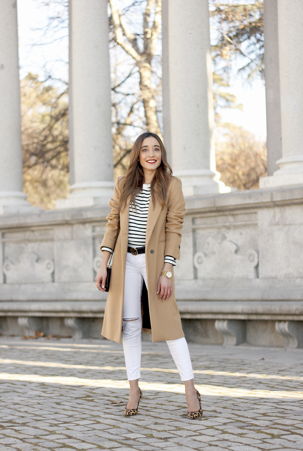 beige coat ripped jeans givenchy bag gucci belt street style outfit 20194
