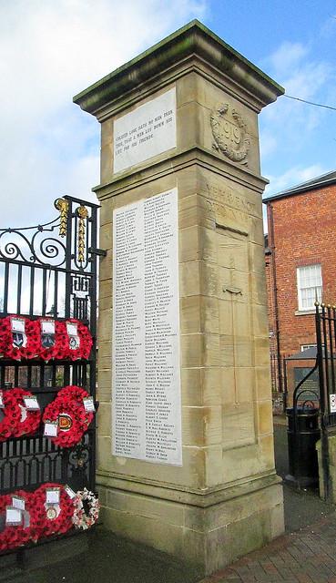 Oswestry War Memorial, Great War Names