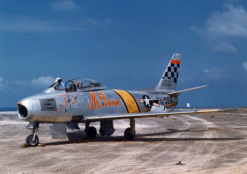 U.S. Air Force North American F-86F-30-NA Sabre (s/n 52-4584) in 1953. This plane was flown by U.S. Marine Corps Major John H. Glenn and dubbed