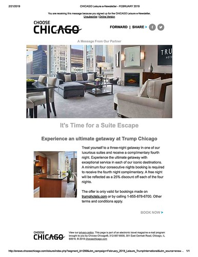 Choose Chicago tourism promotion featuring Trump Hotel Chicago