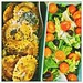 (50% raw food) Vegetarian BENTO Aubergin Ravioli + tomato-olive salad