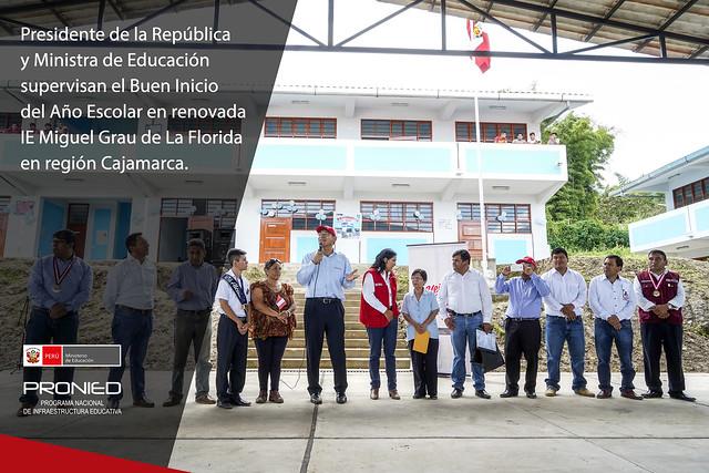 Presidente y Ministra de Educación visitan renovada IE Miguel Grau en Cajamarca