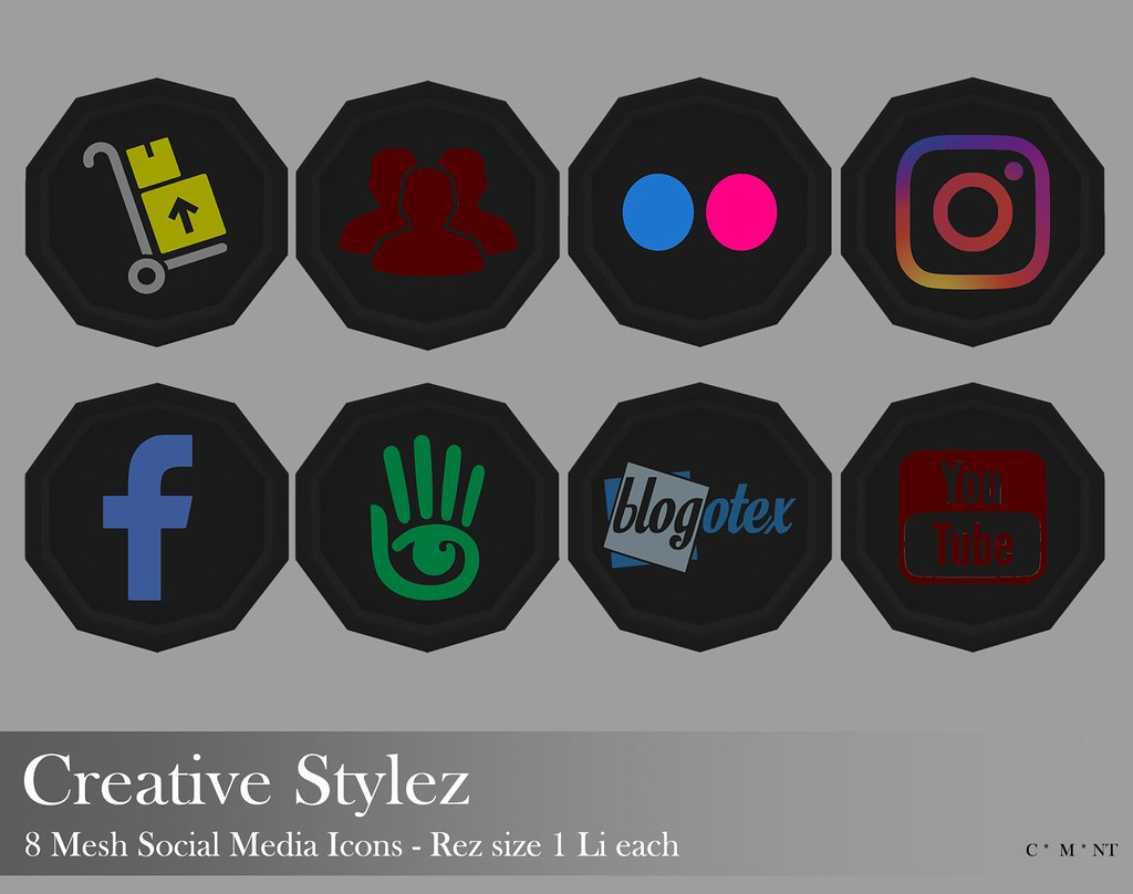 Creative Stylez – 8 Mesh Social Media Icons