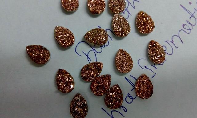 natural rose gold druzy pear cabochon gemstone