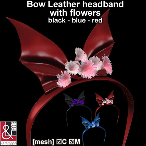 Bow Leather headband with flowers
