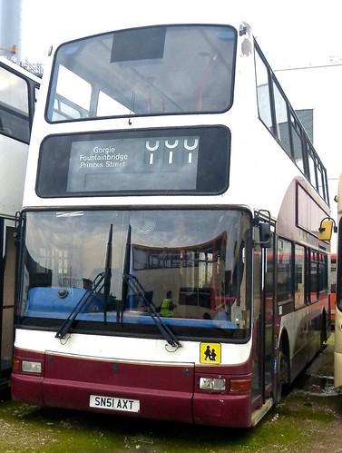 SN51 AXT 'Fairway Travel'. Dennis Trident / Plaxton President on Dennis Basford's railsroadsrunways.blogspot.co.uk'