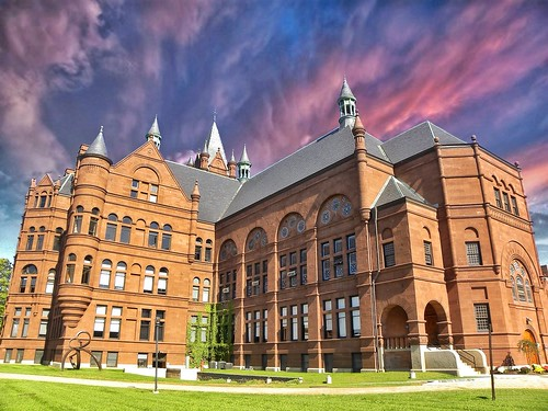 crouse college for women syracuse university ny new york onasill onondaga county city campus architecture romanesque richardsonian architect archimedes russell nrhp register places historic memorial john r 1881 ipad apps building tourist attraction style 架构 美国 旅游 大学 photo border outdoor sky clouds sunset suny