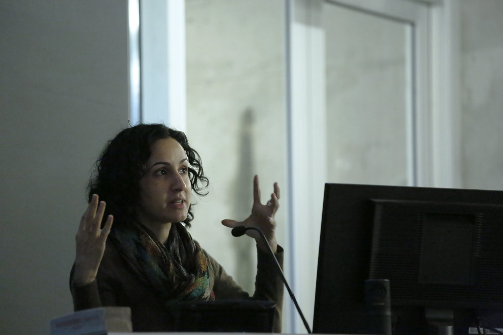 "Mariam Ghani's lecture ""Reconstructions and Speculations,"" cosponsored by the Tenaglia Family and AAP Connect, in Abby and Howard Milstein Auditorium."