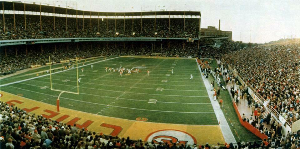 The Kansas City Chiefs at Municipal Stadium, Kansas City, Missouri, circa 1969.