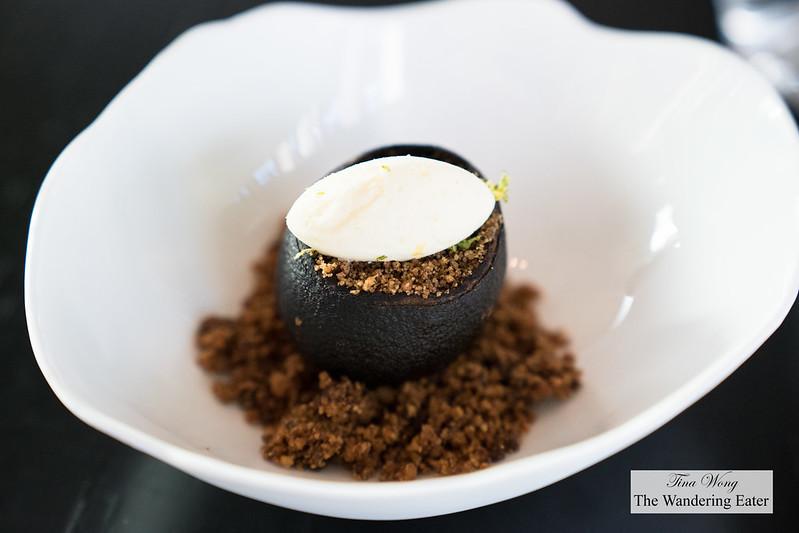 Pre-dessert - Black lemon, orange, anise cream, lemon sorbet