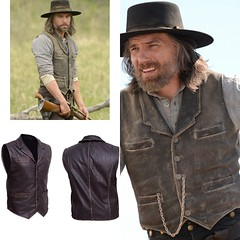Men's Hell On Wheels Cullen Bohannan Distressed Cowhide Leather Vest