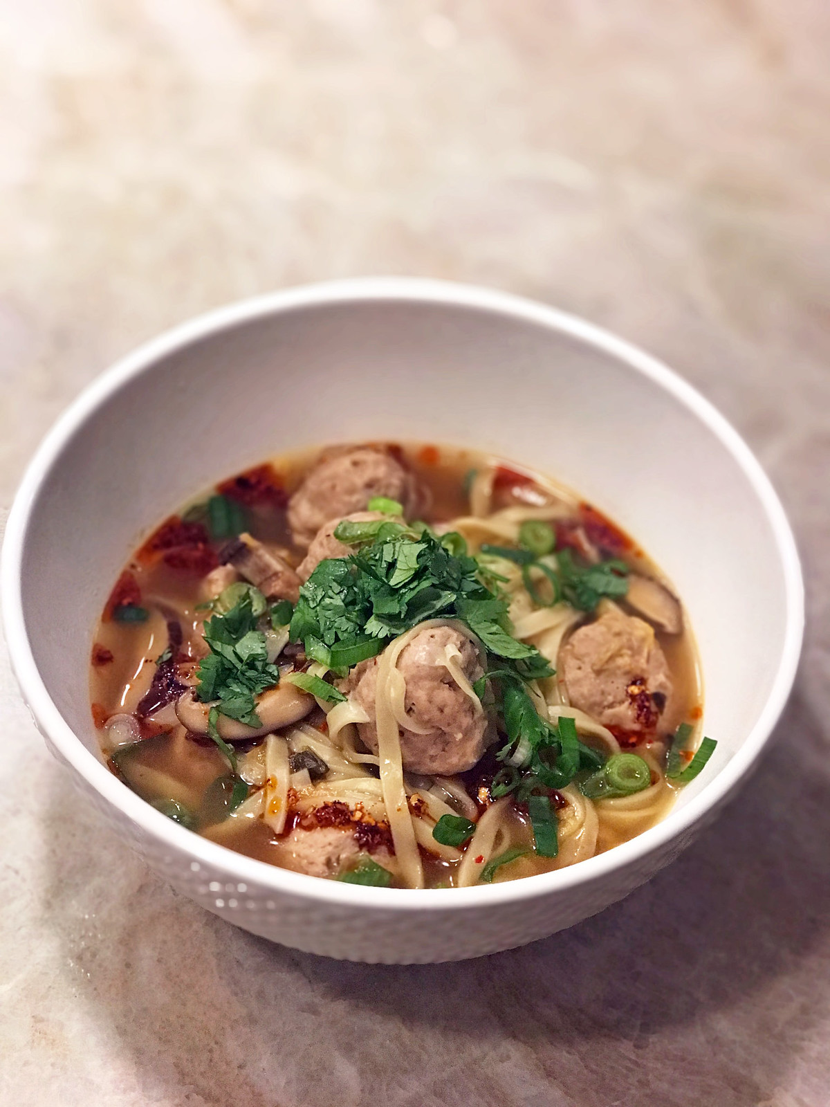 Turkey meatball and noodle soup